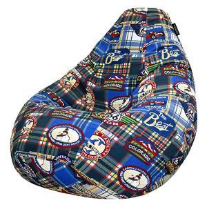 Кресло мешок груша BIG Check Blue