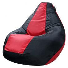 Кресло мешок груша SMALL Oxford Black vs Scarlet
